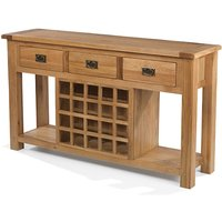 Velum Wooden Sideboard In Chunky Solid Oak With Wine Rack