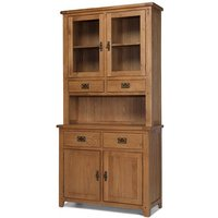 Velum Wooden Small Display Cabinet In Chunky Solid Oak