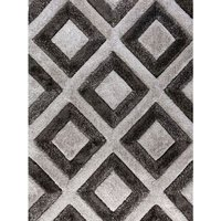 Product photograph showing Velvet 3d Diamonds Silver And Charcoal Rug