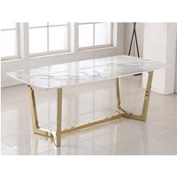 Product photograph showing Veneta Rectangular White Marble Dining Table With Gold Legs