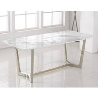 Product photograph showing Veneta Rectangular White Marble Dining Table With Silver Legs