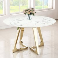 Product photograph showing Veneta Round White Marble Dining Table With Gold Legs