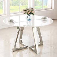 Product photograph showing Veneta Round White Marble Dining Table With Silver Legs