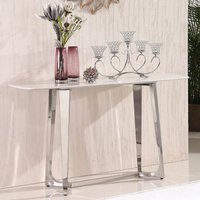 Product photograph showing Veneta White Marble Console Table With Silver Steel Legs