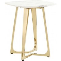 Product photograph showing Veneta White Marble Side Table With Gold Stainless Steel Legs