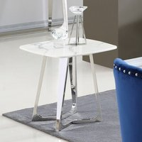 Product photograph showing Veneta White Marble Side Table With Silver Stainless Steel Legs