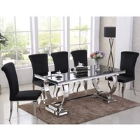 Product photograph showing Venica Black Glass Dining Table With 6 Liyam Black Chairs