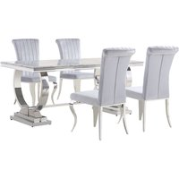 Product photograph showing Venica Grey Marble Dining Table With 4 Liyam Grey Chairs