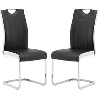 Product photograph showing Venice Black And White Faux Leather Dining Chairs In Pair