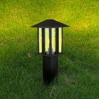 Product photograph showing Venice Outdoor Post Light In Black With Water Glass