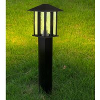 Product photograph showing Venice Outdoor Tall Post Light In Black With Water Glass