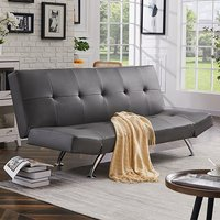 Product photograph showing Venice Sofa Bed In Grey Faux Leather With Chrome Legs