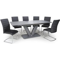 Product photograph showing Venus Extending Glass Dining Table With 4 Callisto Black Chairs
