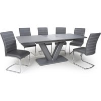Product photograph showing Venus Extending Glass Dining Table With 4 Callisto Grey Chairs