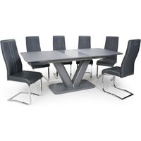 Product photograph showing Venus Extending Glass Dining Table With 4 Nova Dark Grey Chairs