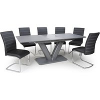 Product photograph showing Venus Extending Glass Dining Table With 6 Callisto Black Chairs