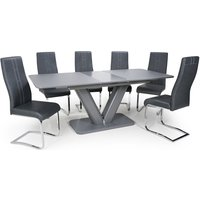 Product photograph showing Venus Extending Glass Dining Table With 6 Nova Dark Grey Chairs