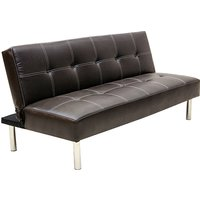 Product photograph showing Venus Pvc Sofa Bed In Brown