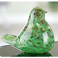 Product photograph showing Verde Glass Bird Design Sculpture In Green