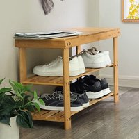 Vermillion Bamboo Shoes Seating Bench In Oak