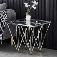 Product photograph showing Verona Clear Glass Side Table With Silver Stainless Steel Legs