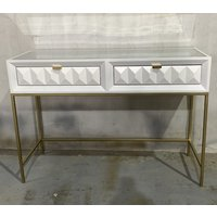 Product photograph showing Verona Console Table In White High Gloss With 2 Drawers