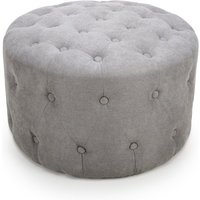 Product photograph showing Verona Small Round Pouffe In Light Grey