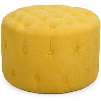 Product photograph showing Verona Small Round Pouffe In Sunny Yellow