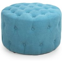 Product photograph showing Verona Small Round Pouffe In Turquoise Blue