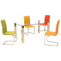 Verona Dining Table In Clear Glass With 6 Dining Chairs