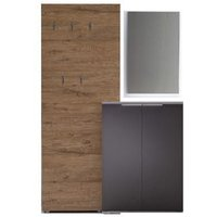 Product photograph showing Vicenza Hallway Furniture Set In Oak And Anthracite