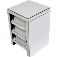 Vicenza Modern Mirrored Bedside Cabinet With 3 Drawers