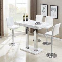 Vida Bar Table In Glossy Marble Effect 4 Ripple White Bar Stool