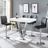 7f30d252871 Product photograph showing Vienna Bar Table In White Gloss And 4 Ripple Black  Bar Stools
