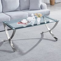 Product photograph showing Vienna Clear Glass Coffee Table With Angular Chrome Legs