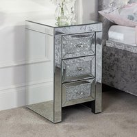 Vienna Glass Bedside Cabinet In Mirrored With 3 Drawers