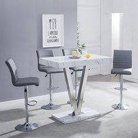 Product photograph showing Vienna Gloss Bar Table In Vida Print With 4 Grey Ripple Stools