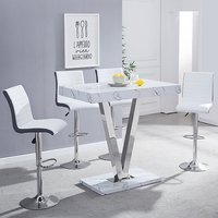 Product photograph showing Vienna Gloss Bar Table In Vida Print With 4 White Grey Stools