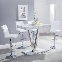 Product photograph showing Vienna Gloss Bar Table In Vida Print With 4 White Ripple Stools