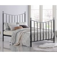 Product photograph showing Vienna Metal King Size Bed In Black With Chrome Details