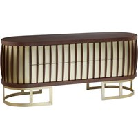Vigap Small Wooden Sideboard In Walnut With Gold Metal Legs