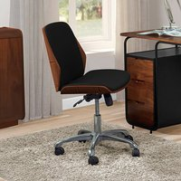 Product photograph showing Vikena Faux Leather Office Chair In Walnut And Black