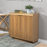 Product photograph showing Vikena Wooden Filing Cabinet In Oak With 2 Doors