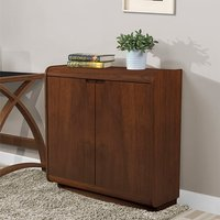 Product photograph showing Vikena Wooden Filing Cabinet In Walnut With 2 Doors