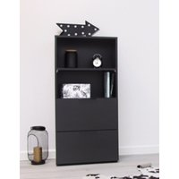 Product photograph showing Vikix Wooden 1 Door 2 Drawers Storage Cabinet In Black
