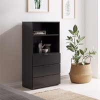 Product photograph showing Vikix Wooden 1 Shelf 3 Drawers Storage Cabinet In Black