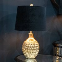 Product photograph showing Vincentia Resin Table Lamp In Gold With Black Shade