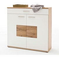 image-Viola Wooden Shoe Cabinet Wide In Oak And Matt White