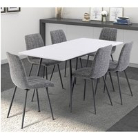 Virgo Extending White Gloss Dining Set With 6 Grey Fabric Ch