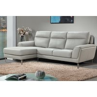 Vitalia Corner Left Handed Leather Sofa Bed In Light Grey